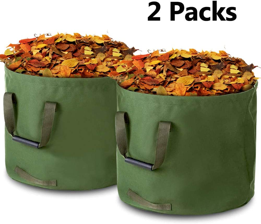 Yard Waste Bag, 2-Pack 33 Gallons Multi-Purpose Reusable Heavy Duty Garden Tote Bag, Biodegradable Canvas Garden Leaf Bag Lawn Trash Container, Leaf Green - Enrack
