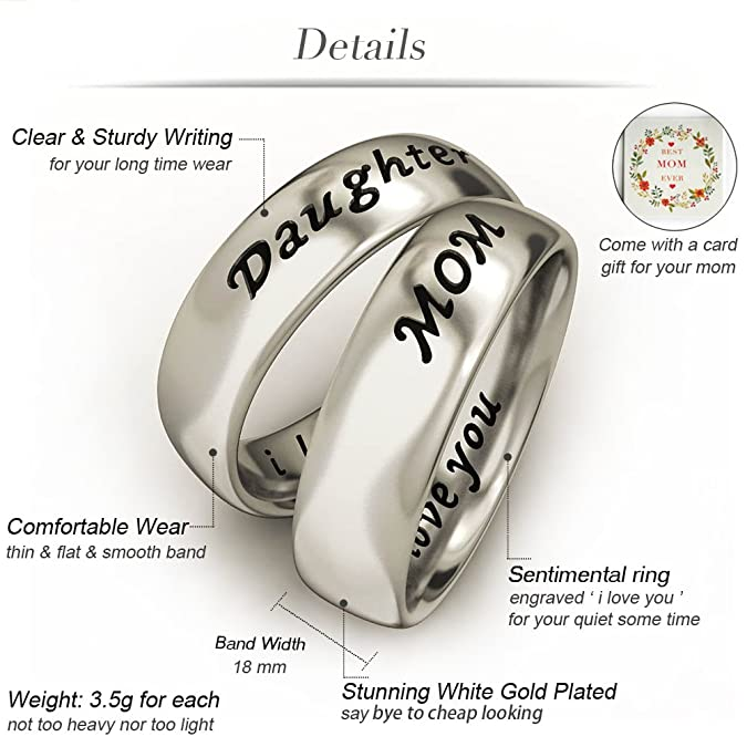 Amazon Com Evbea Mother Daughter Jewelry Antique Band Rings Set