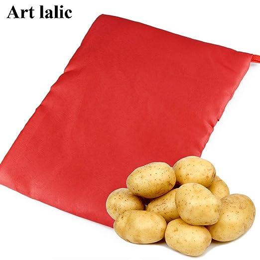 1 bolsa de cocina de color rojo lavable para cocinar patatas ...