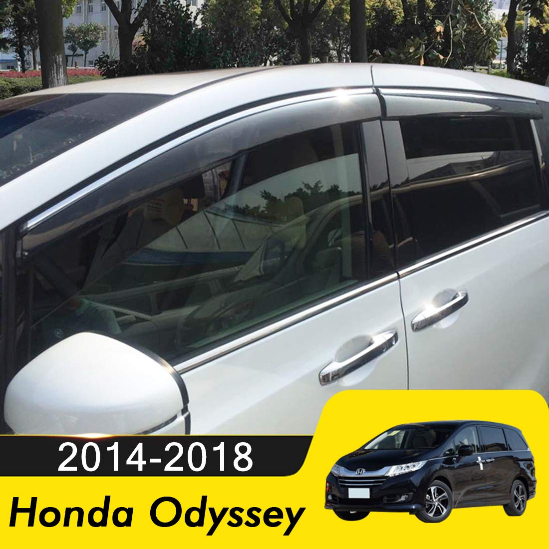 biosp Compatible for 2014-2017 Honda Odyssey Visor Rain Sun Deflectors Car Window Ventvisor Shade Wind Deflector