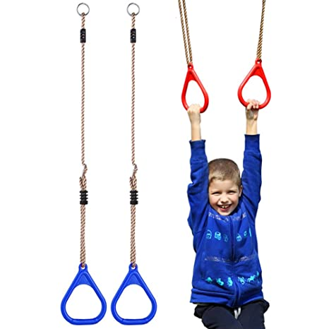 amazon com children trapeze bar pull up gym rings kids playgroundchildren trapeze bar pull up gym rings kids playground home swing sets accessories exercise fitness indoor
