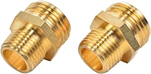 REGNHLIF 2 Pack 3/4 Inch Male to 1/2 Inch NPT Male Connector, Brass Garden Hose Fitting, Male Hose Adapter