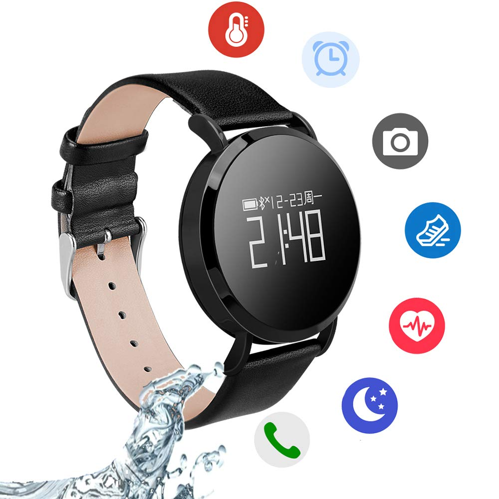 Smartwatch,Hangang Fitness Tracker with Heart Rate Monitor,Sports Activity Tracker Watch, Waterproof Pedometer Watch with Sleep Monitor, Step Tracker for Women, and Men (Leather-Black)