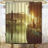 AmaPark Rust Metal Grommets Shower Curtain Pura Ulun Danu Temple Bali Indonesia Asian River R for Shower Stall Bathtubs 36 x 72 inches