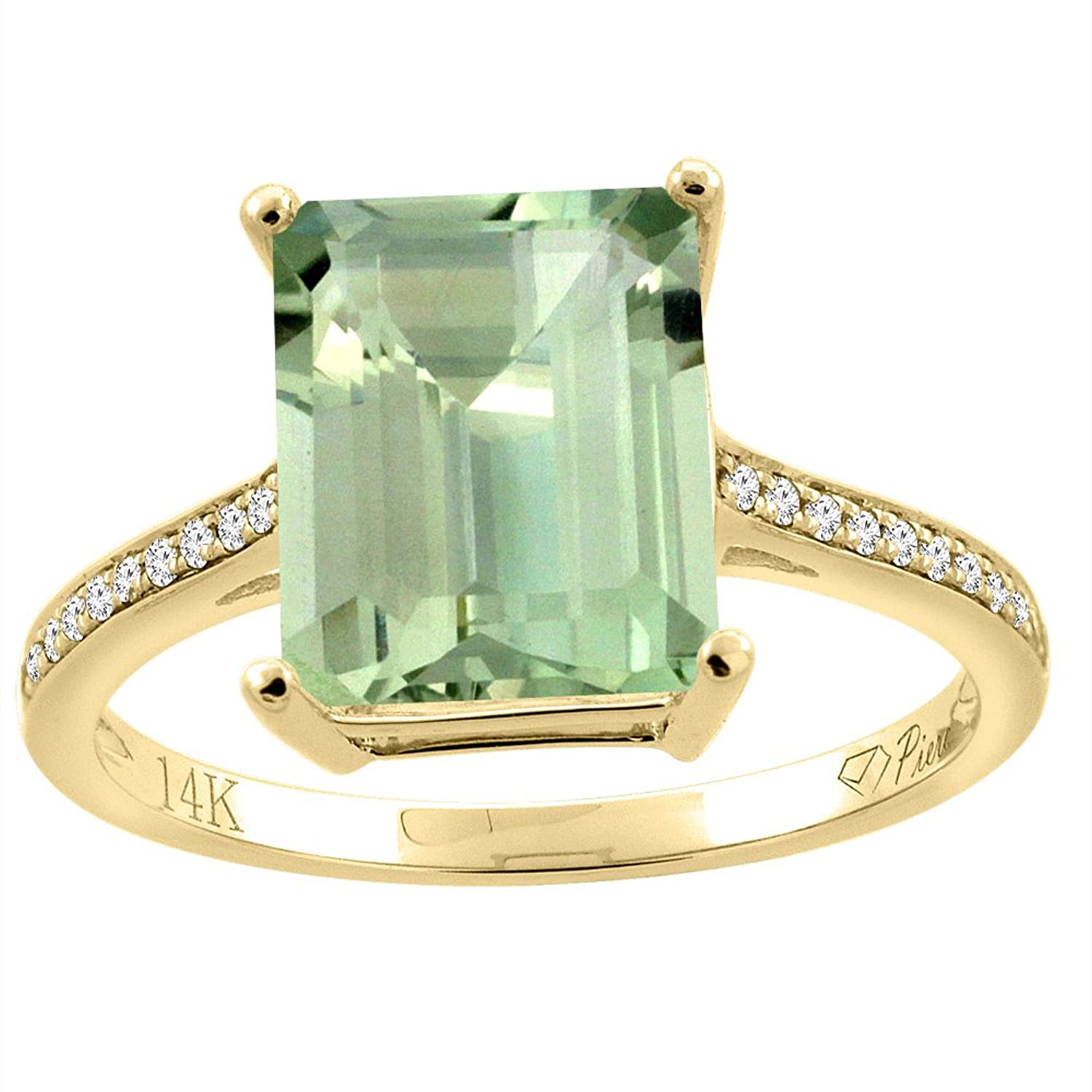 14K Gold Natural Green Amethyst Ring Octagon 10×8 mm Diamond Accents, sizes 5 – 10