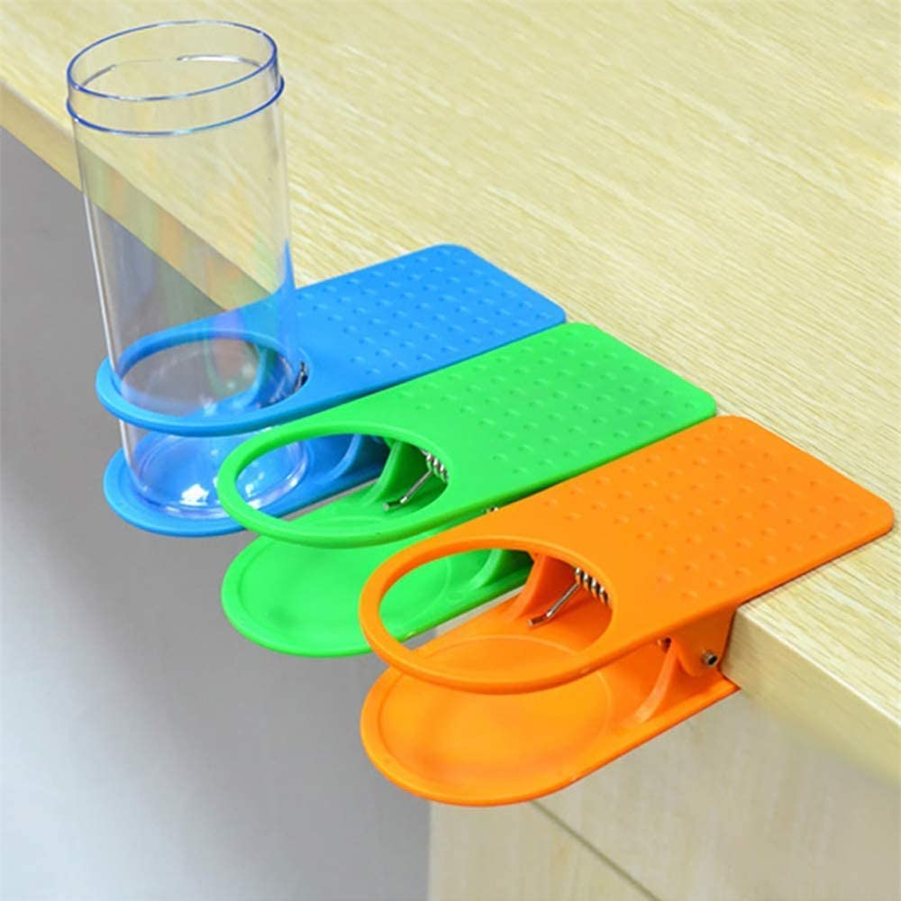 Ruosaren 4 Pack Cup Holder Clip Table Desk Side Bottle Cup Stand The DIY Glass Clamp Storage Saucer Clip Water Coffee Mug Holder Saucer Clip Design for Home Office 63mm