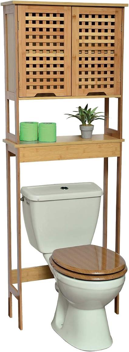 TENDANCE WC Mueble Baño Koh Lanta con 1 Estantería y 2 Puertas con 1 Estante en el Interior – Armario Baño Bambú 63 x 23 x 173 cm