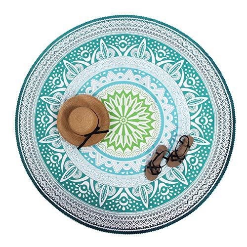 Round Beach Roundie Blanket Throw Yoga Mat Picnic Blanket Baby Playing Mat Mandala Tapestry Tablecloth (Green and White)