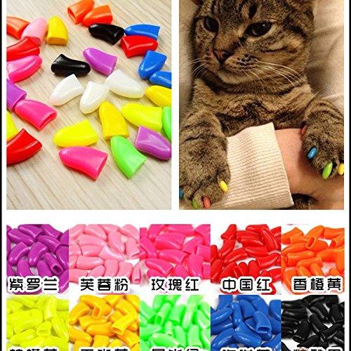 (Puraid(TM) New 20pcs/lot Soft Cat Dog Pet Nail Caps Cover Claw Control Paws off Size S-L)
