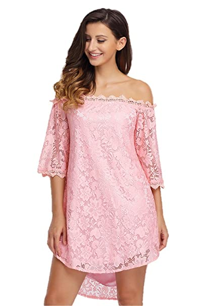 Eastylish Womens Off Shoulder Dress 34 Sleeves Floral Lace
