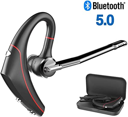 Amazon Com Golvery Bluetooth Earpiece V5 0 Wireless Headset With Boom Microphone For Cell Phone Cvc6 0 Noise Cancelling Handsfree Stereo Earphones For Office Car Trip Volume Mute Control 10 Hours Talk Time Home Audio