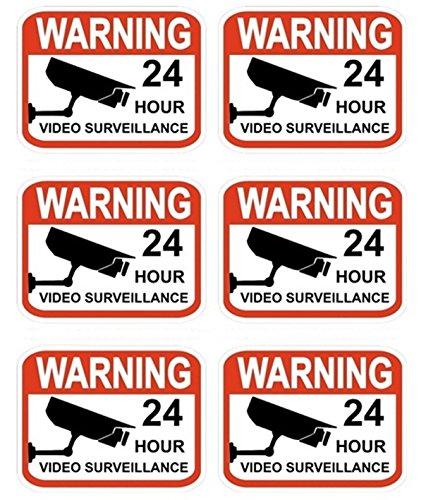 6 Pcs Excessive Modern Video Surveillance Stickers Sign Anti-Robber 24Hr Warning Anti-Burglar Size 2.3