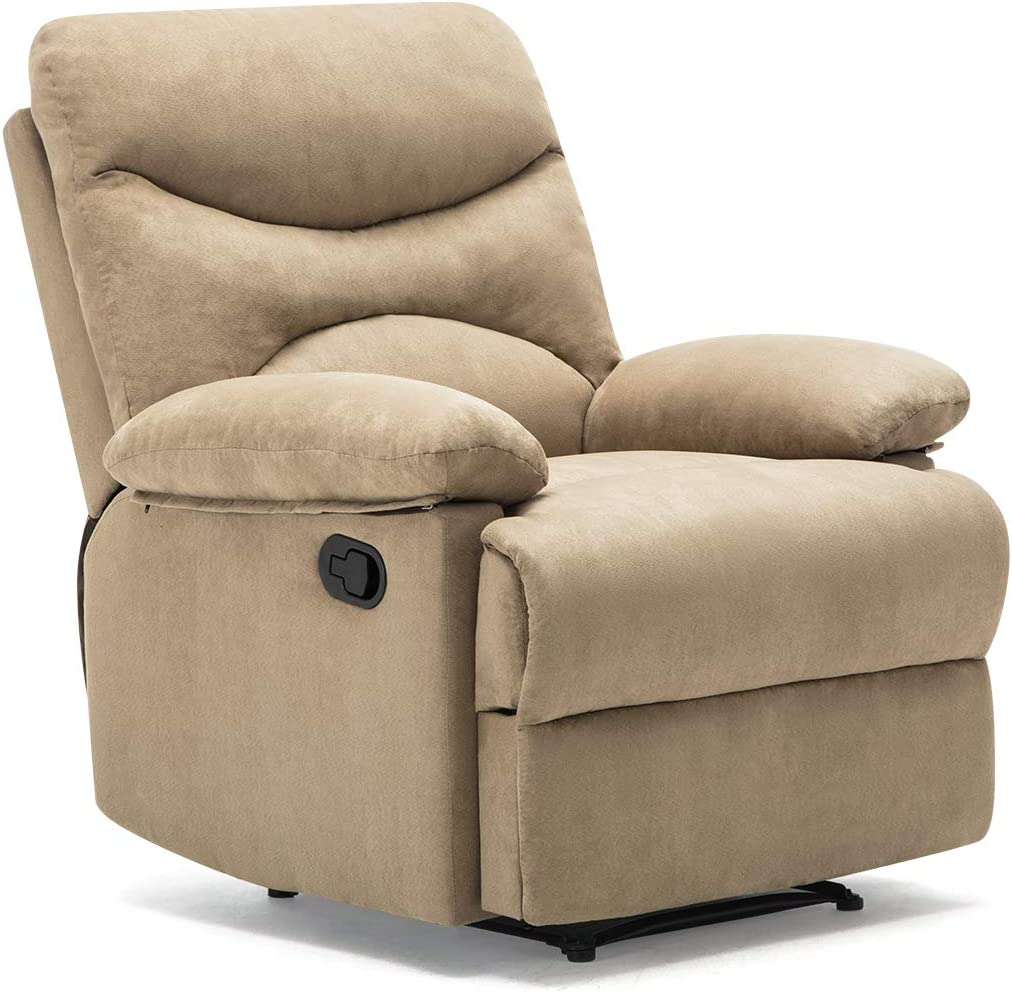 FRIVITY Massage Recliner Chair, Microfiber Ergonomic Living Room Sofa with Heated Control Home Theater Seating Fit for Elder Age, Beige