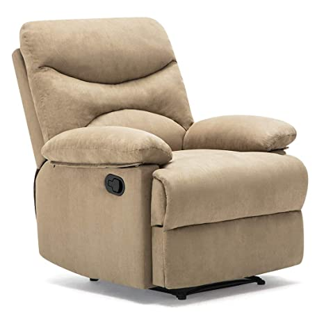 Windaze Recliner Chair, Massage Heat Lounge Manual Sofa Chair Microfiber Ergonomic for Living Room Beige