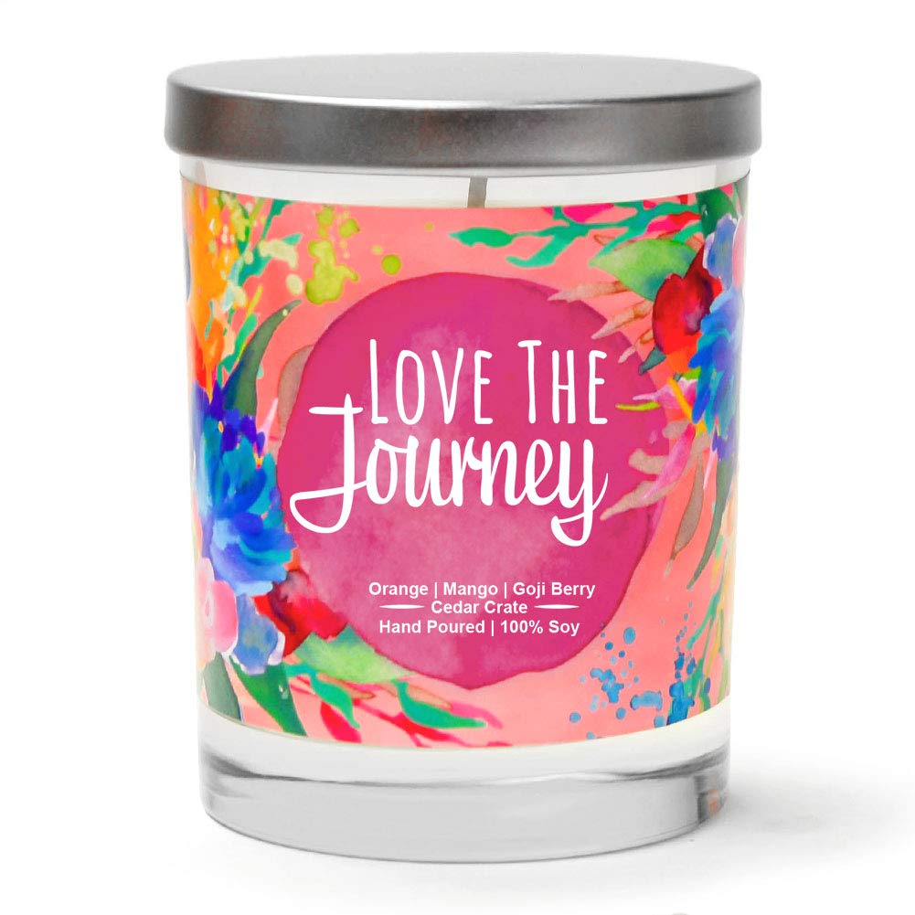Love The Journey | Orange, Mango, Goji Berry | Luxury Scented Soy Candles | 10 Oz. Jar Candle | Made in USA | Decorative Aromatherapy | Inspirational Gifts for Women | Thinking of You Gifts for Women
