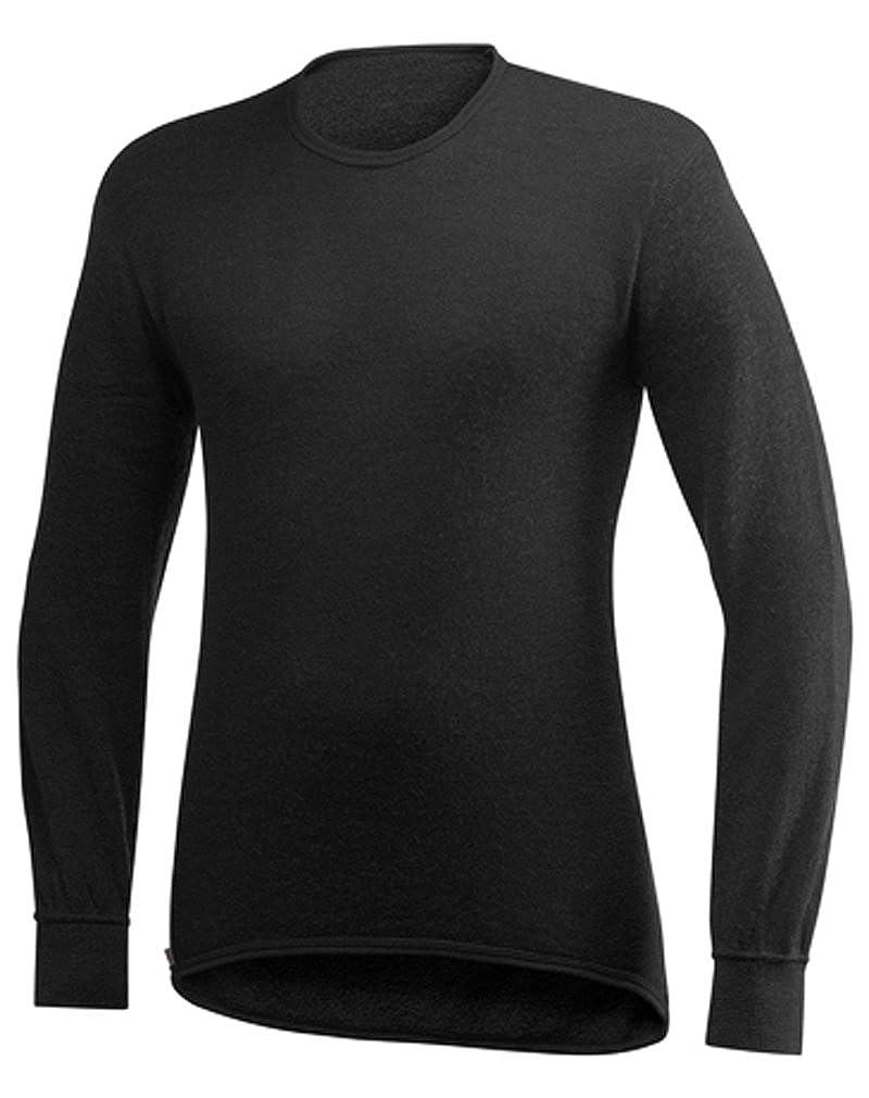 Noir L T-shirt hommeche longue ullfrougeté 200 gr woolpower col rond noir