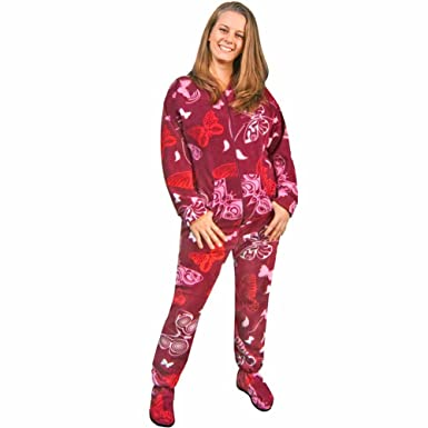 Butterfly Fleece Footie Pajamas with Drop Seat