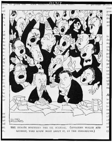 Photo: Senate discusses, oil scandal, Walsh, Lenroot, know most, Teapot Dome, G Williams, 1924 . Siz