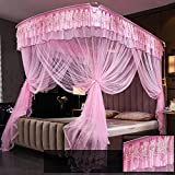 XRXY Mosquito Net Fishing Rods Creative Telescopic Mosquito Net/U Type Stainless Steel Floor-Standing Palace Bracket Mosquito Net/Household Decoration Bed Mantle (4 Colors Available)