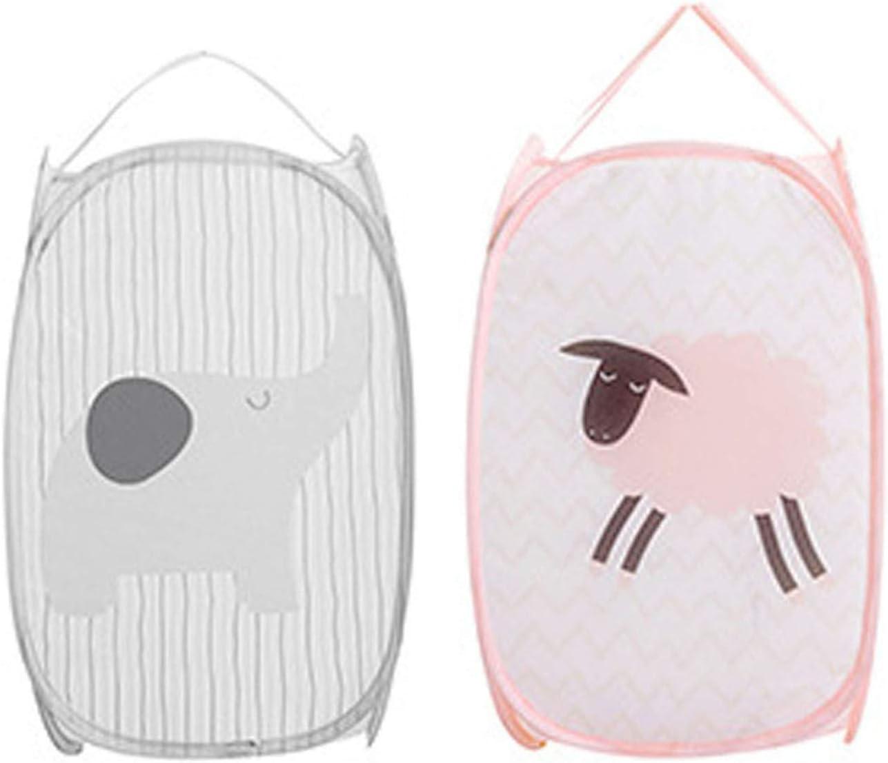 Foldable Mesh Pop-Up Laundry Hamper-Durable Mesh Hamper Clothes Laundry Basket Storage Bag with Side Pocket (Grey+Pink Animal)