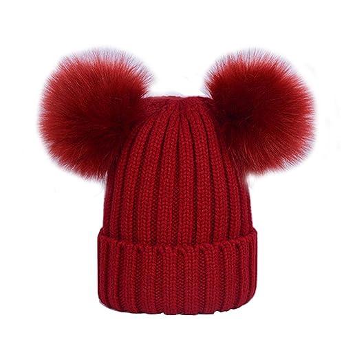 Sombrero De Gorro De Piel SintéTica ECYC® Pom Pom Beanie Hat EláStico De Mujer De Invierno