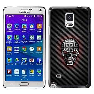 PC/Aluminum Funda Carcasa protectora para Samsung Galaxy Note 4 SM-N910F SM-N910K SM-N910C SM-N910W8 SM-N910U SM-N910 Checkered Goth Skull / JUSTGO PHONE PROTECTOR