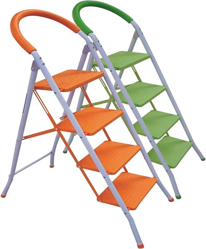Escalera Plegable Multi-Función con Peldaños y Tope Anti-deslizantes. Mod.: Step de Eneide. Taburete Multi-uso. (Hierro fundido Ø25mm, 4 Peldaños): Amazon.es: Bricolaje y herramientas