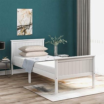 Bianco en.casa Struttura Letto Singolo 90 x 200 cm Letto in Legno di Pino con Testiera e Pediera Alte