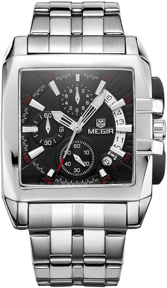 Megir Mens Acero Inoxidable Negro Relojes de cuarzo calendario chornograph luminoso cuadrado reloj de muñeca analógico para hombre