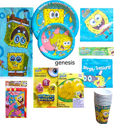 Spongebob Squarepants Children's Ultimate Birthday Supplies Includes Lunch & Dessert Plates, Napkins, Gift bags, Balloons, Candle Set, Invitations, Tablecover, Party Cups (Party For 8) (Squarepants Birthday Spongebob Invitations Party)