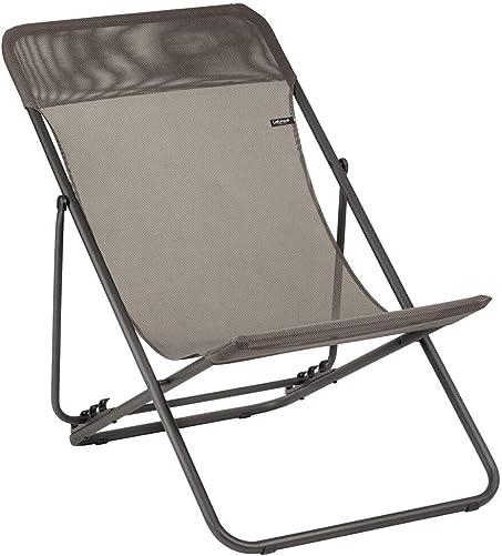 Lafuma Maxi Transat Folding Sling Chair Graphite Grey Canvas, Set of 2 Foldable Adirondack w Titane Steel Frame