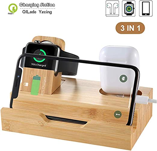 WISION 3-Port Bamboo Charging Station Desk Dock Stock Cradle Holder Organizer Charging Stand for Universal Multi Device Compatible AirPods//Apple Watch//Cell Phone with Case