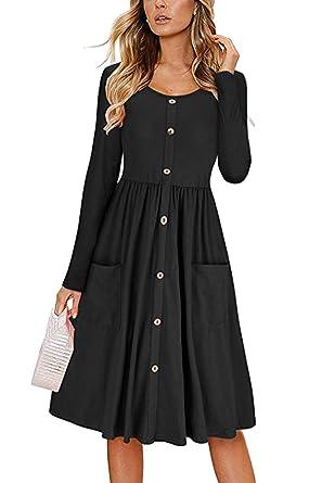 d5bf3d0ebb139 KAKALOT Women's Long Sleeve Casual Button Down Midi Swing Dress with Pockets