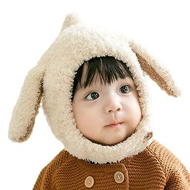 DORRISO Bonnet Enfant Casquette Protection du Cou Set Tête Encapuchonnée  Printemps Hiver Mignonne Oreilles de Lapin c146afefdd4