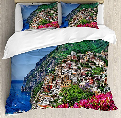 WAZZIT Italy 4 Piece Duvet Cover Set Twin Scenic View of Positano Amalfi Naples Blooming Flowers Coastal Village Image Print Bedding Set with Zipper Closure Matching 2 Pillow Shams Pink Green Blue ()