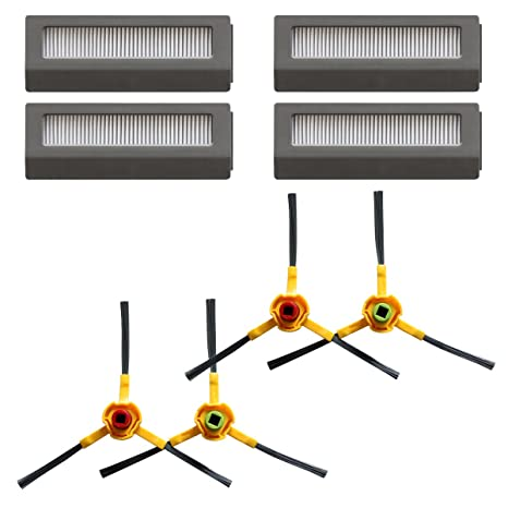 TeKeHom - Juego de 4 filtros de alta eficiencia + cepillos laterales * 4 para Ecovacs