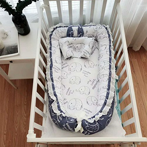 Abreeze Ruffled Baby Bassinet for Bed -Blue Elephant Baby Lounger - Breathable & Hypoallergenic Co-Sleeping Baby Bed - 100% Cotton Portable Crib for Bedroom/Travel;Suitable for 0-24 Month by Abreeze
