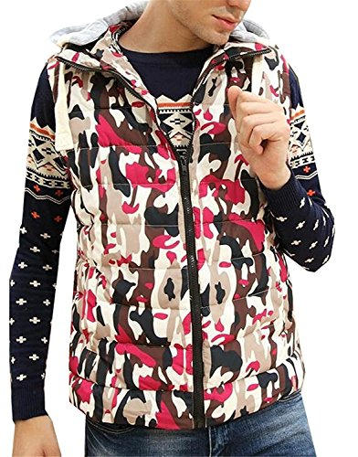 Pilusooou Mens Fashion Camouflage Removable Hooded Cotton Vest Outwear RedUS-XS