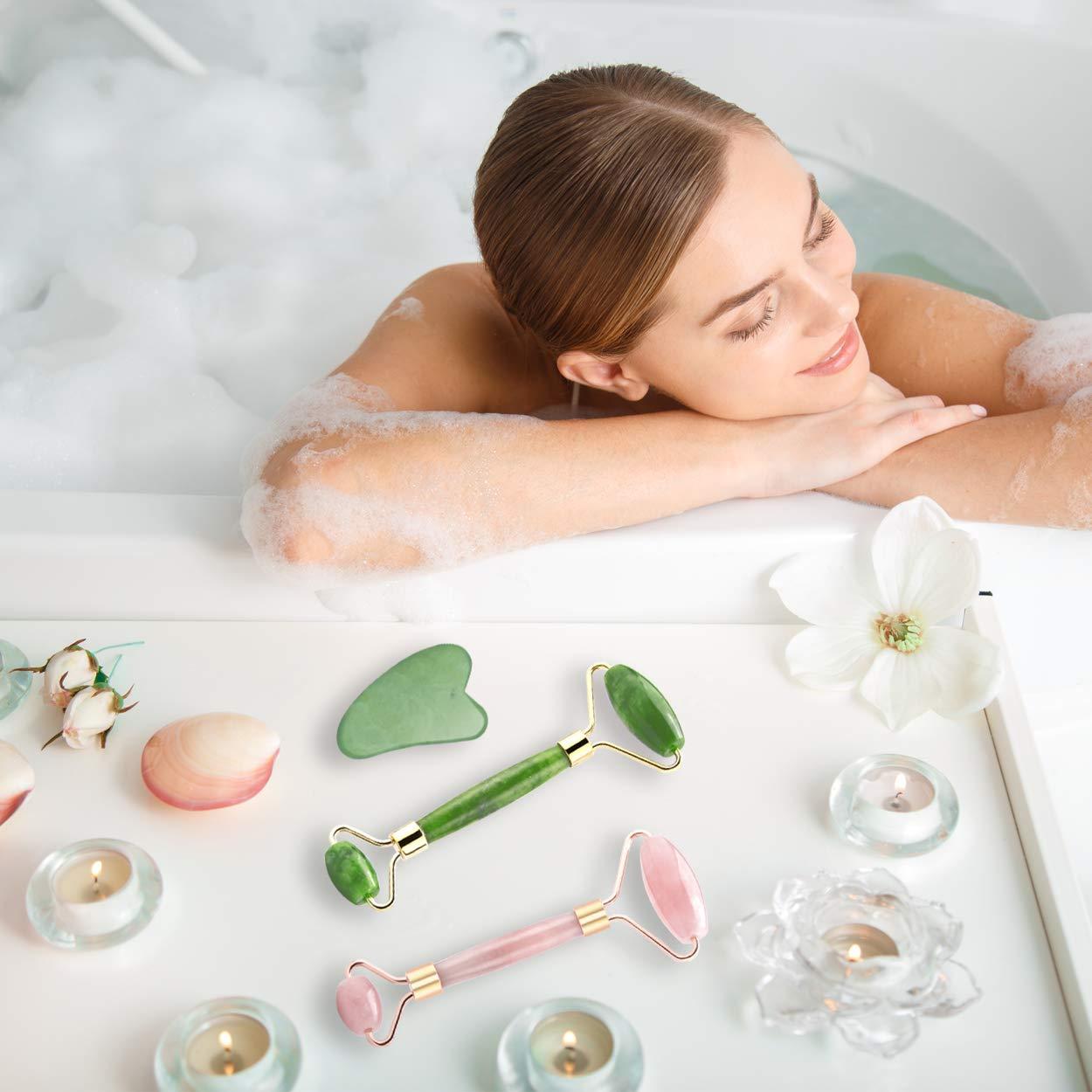 Jade Roller for Face & Natural Rose Quartz Roller & Gua Sha Scraping Tool, 3 in 1 Anti-Aging Jade Face Roller Massager for Cheeks Slimmer, Skin Tightening, Rejuvenate Skin