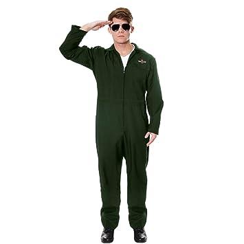 Aviator JumpSuit American Pilot Top Gun Fancy Dress Costume Deluxe Jump  suit (BY WOT) AV U54001  Amazon.co.uk  Toys   Games 77b10070ab537