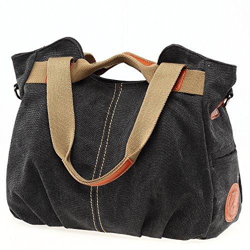 Black Women's Women's Bag Hand Tote Bag Blue Canvas Canvas Shoulder 4z5dxXqwq