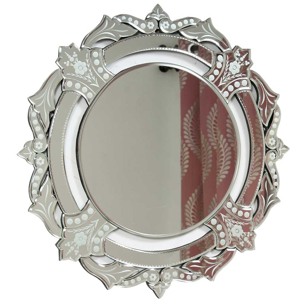 IndianShelf Handmade Vintage Decorative New Design Glass Wood and Iron Engraved Border Round Venetian Mirror