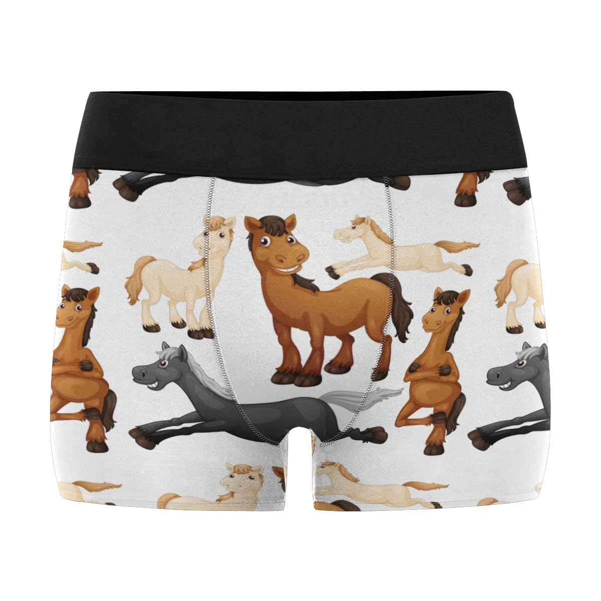 INTERESTPRINT Custom Mens All-Over Print Boxer Briefs Running Horse XS-3XL
