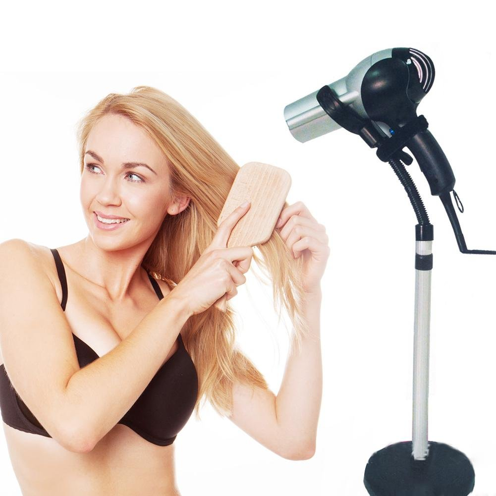 Hair Dryer Styling Stand Holder Adjustable Height Stainless Steel Blow Dryer Rack Hands Free Home Salon Tabletop Appliance Stand Removable Sucking Cup Stand