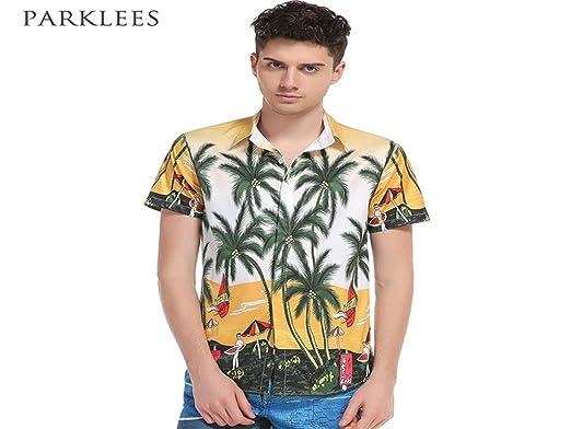 ecd925b5ceb Donald Trump Mens Hawaiian Shirt Coconut Tree Floral Print Shirts Short  Sleeve Cotton Aloha Shirts Men Summer Style Beach Party Chemise Homme   Amazon.co.uk  ...