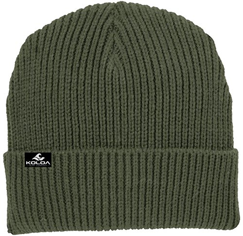 Heavyweight Knit Cap - Joe's USA Koloa Surf Heavyweight Watch Hat Knit Ribbed Beanie Cap Army Green