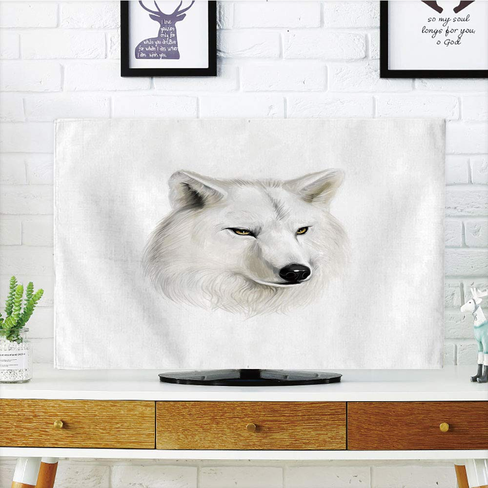 iPrint LCD TV Cover Multi Style,Wolf,White Canine Head with Great Detail Hunter Mammal Wildlife Nature Scene Art Decorative,Black Beige Yellow,Customizable Design Compatible 65'' TV