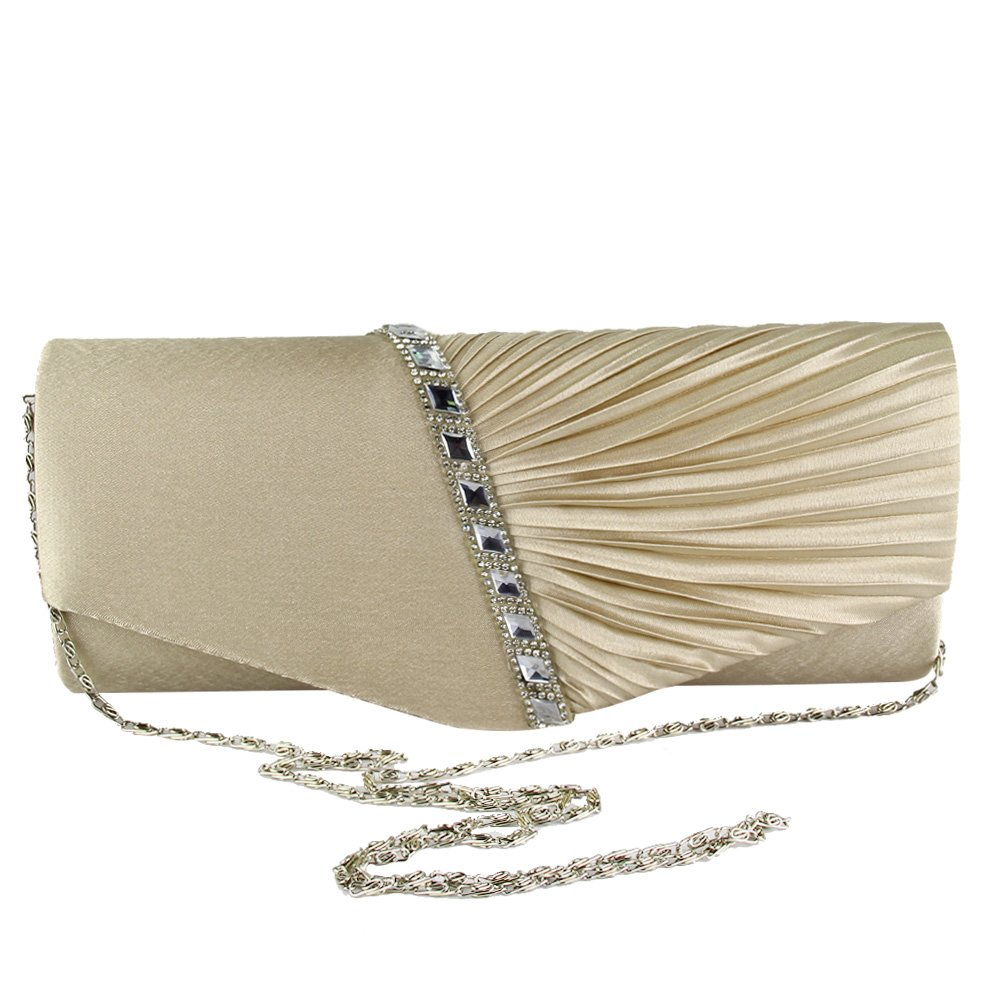 Medium Diamante Women Satin Clutch Bag Bridal Prom Ladies Evening Party Handbag