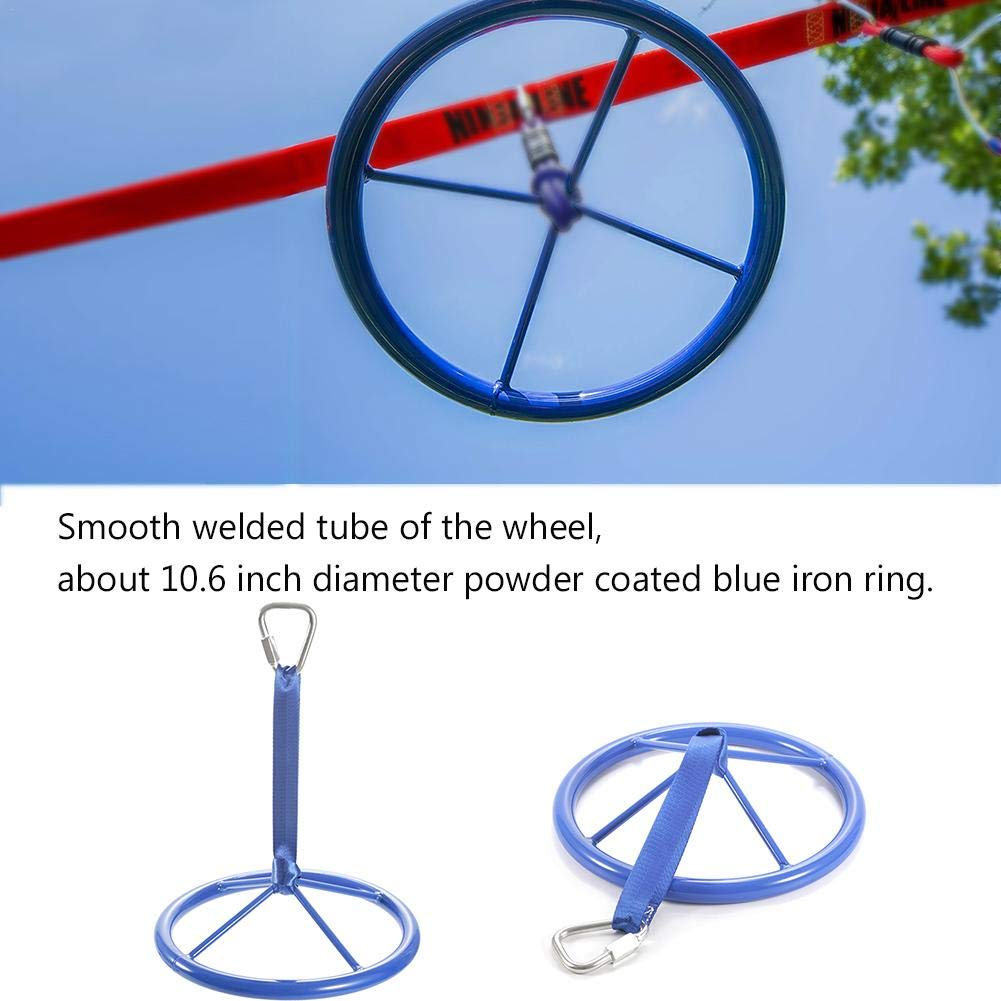 Gorge-buy Metal Ninjaline Wheel with Safety Carabiner - Arm Strength Exercises Climbing Training Ninja Wheel Outdoor Fitness Equipment for Children, 10.63 inch Diameter by Gorge-buy
