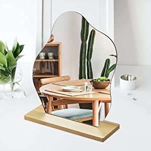 Leikedun Irregular Mirror, Frameless Cloud Shape Aesthetic Make-up Acrylic Mirror Clear Imaging Portable Table Mirror with Wooden Stand for Home Vanity Desk Decor and Beauty